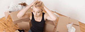 young woman stressed about her house relocation