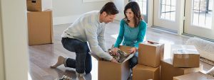 young couple preparing for a household relocation